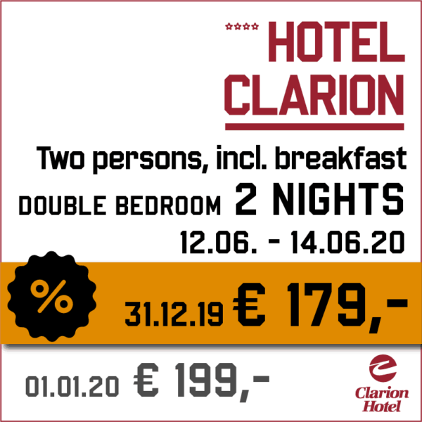 Hotel Clarion 2 nights - Indian Riders Fest Budweis 12.06- 14.06.2020