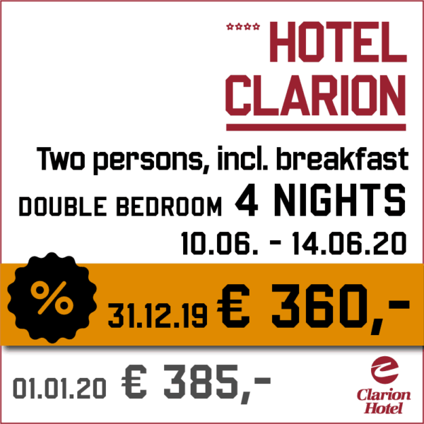 Hotel Clarion 4 nights - Indian Riders Fest Budweis 12.06- 14.06.2020