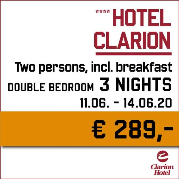 Hotel Clarion 3 nights - Indian Riders Fest Budweis 12.06- 14.06.2020